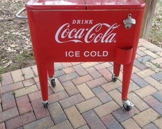 This is out by the pool!  What a fun way to ice down drinks!
