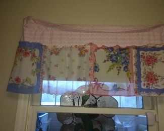 CUTE! CUTE! CUTE!  These are curtains made out of old hankies!  They're for sale!!!