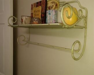 Several cute metal shelves in all the bathrooms!