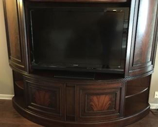 Affinity Curved Sliding Door Entertainment Center by Riverside Furniture, Sony TV...