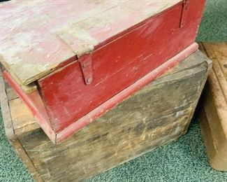 vintage wooden advertising boxes
