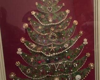Large, Beautiful, Ornate Costume Jewelry Christmas Tree Framed Art--whew! and WOW! Original, One of a Kind, Folk Art!