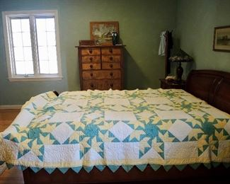 """Antique Charleston hand-stitched quilt with pointed hem, solid yellow reverse side, 90""""x73""""."""