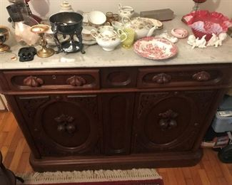 Antique Marble Top Buffet $ 380.00