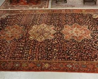 1001EXCEPTIONAL PERSIAN BAKTIARI LARGE RUG WITH TRIPLE MEDALLION CENTER  ON A NAVY BLUE GROUND WITH RED BORDER. 17 FT 3IN X 12 FT 4 IN. EXCELLENT CONDITION.
