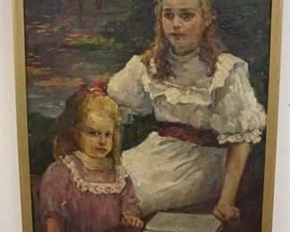 1004CARL KAYSER-EICHBERG OIL ON CANVAS DEPICTING TWO YOUNG GIRLS READING A BOOK, 44 1/2 IN X 29 IN