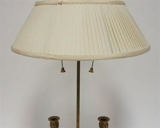1007BRASS TABLE W/ CANDLE HOLDERS & RAMS HEAD DECORATION COMES W/ A PLEATED CLOTH SHADE, 31 IN H