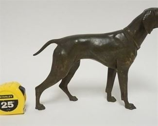 1009JENNINGS BROTHERS METAL HUNTING DOG SCULPTURE, 14 1/2 IN L, 10 1/4 IN H, SIGNED JB 2568