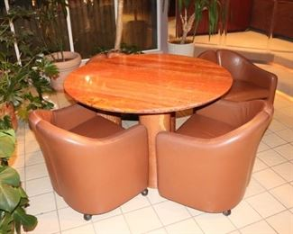 Mario Bellini Round Table with 4 Leather Barrel Chairs on Casters