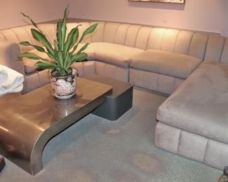 Large Sectional and Contemporary Coffee Table with Potted Plant