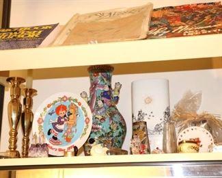 Candlesticks, Decorative Plate, Vase and Bric-A-Brac