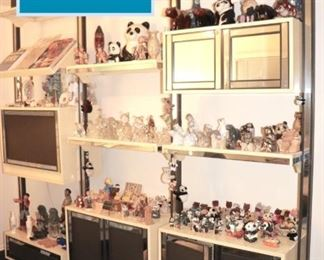 1980's Wall Unit loaded with Decorative Items and Bric-A-Brac