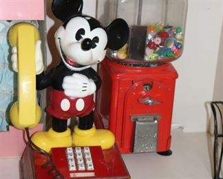 Mickey Mouse Phone and Gumball Machine