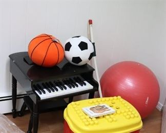 Toys including Kid's Piano and Balls