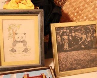 Panda Drawing and Vintage Photo