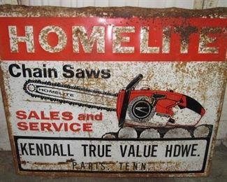 "58"" Metal Homelite Chain Saws Sign"