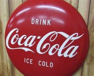 3' Metal Coke Button Sign