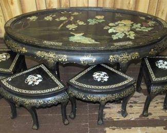 Oriental Table w/4 Stools
