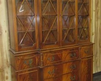 2 piece Mahogany Bubble Glass Breakfront China Cabinet w/Pull Out Desk