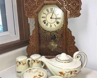 Antique oak kitchen clock (working), Autumn leaf items.