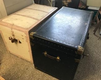 Vintage and antique trunks.
