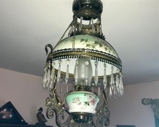 Stunning Victorian lighting fixture, converted from kerosene to electricity.
