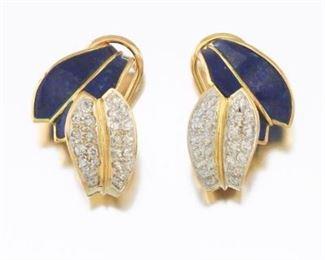 Ladies Vintage Gold, Lapis Lazuli and Diamond Pair of Ear Clips
