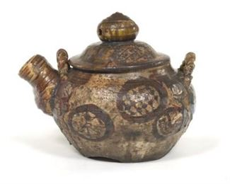 Monumental Chinese Ceramic Flambe Glazed Pot with Cover