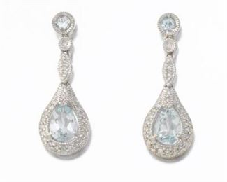 Pair of Diamond and Blue Topaz Earrings