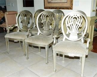 2. Set of Six 6 Upholstered Dining Chairs