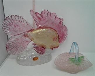 Murano Glass Fish and a Small Glass Basket