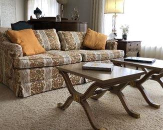 Down filled HENREDON Sofa (we have a pair). DOROTHY DRAPER for Henredon Heritage tables.