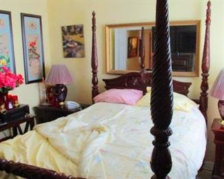 Four poster bed for sale. BR 1. Matching dressers & vanities and chests of drawers. Solid like new firm Serta Mattresse. Guest room with little used.  Quantity: 2 Queen beds and 1 king all of same brand and style are in this house.