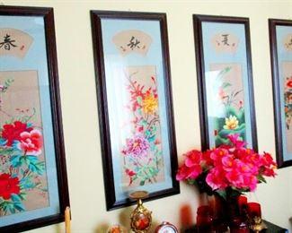 Japanese silk flower needle point under glass. BR 1