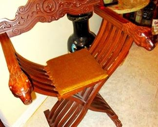 """Italian Folding """" Savonarola Chair."""" From Italy..Popular in the time of the Medici rule.  1450-1550. This one is a vintage repro"""