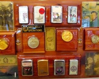 US Navy Serviceman's Memorabilia Plank. Includes 4 US silver and half dollars, 8 US Navy Zipo Lighters, Personal Pictures.  There are several more such planks  with various forms of service memorabilia and silver coins throughout the house and garage.