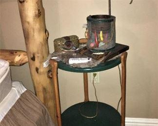 CRAFTY SIDE TABLE WITH OAR LEGS, MINNOW BUCKET LAMP