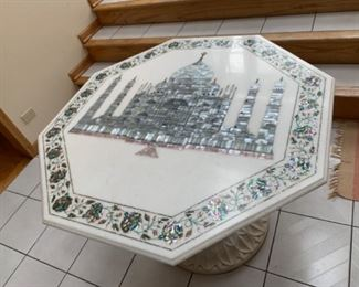 "Octagonal Marble Table with Taj Mahall and Flowers  Paua Abalone Perl Marquetry image 48"" diameter $2000 or your offer.  If you are interested please text 312-933-5369 or 312-203-0342. We will text you PayPal and pick up instructions."
