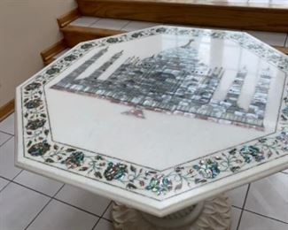 "Octagonal Marble Table with Taj Mahall and Flowers  Paua Abalone Perl Marquetry  image 48"" $2000 If you are interested please text 312-933-5369 or 312-203-0342. We will text you PayPal and pick up instructions."