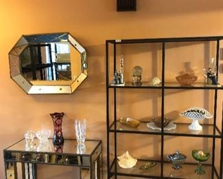Mirrored console table and mirror