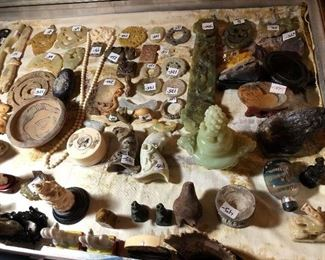 Jade, soapstone and other various Asian antique carvings