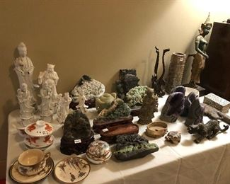 Jade Carvings, Japanese Satsuma pieces, Thai statuary, amethyst crystals