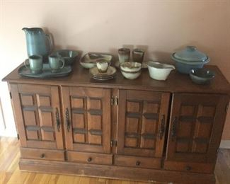 great little buffet with many uses with Frankoma pottery