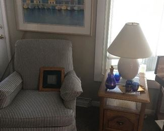 modern chair with great ship harbor picture, antique glassware & endtables
