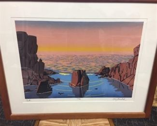 "Mary Brodbeck woodblock print titled ""The Peak"""