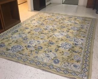 Another area rug- deeper blue, gold and cream tones