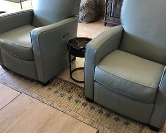 Pair of light blue reclining chairs yes please