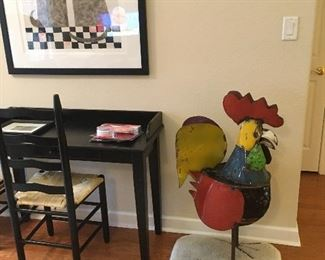 "Writing Desk,  40""  Tall Metal Art Rooster"