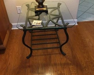 Iron and Glass End Table, Lamp