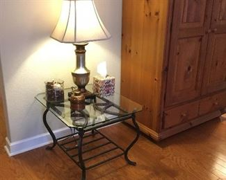 Iron and Glass End Table, Lamp,